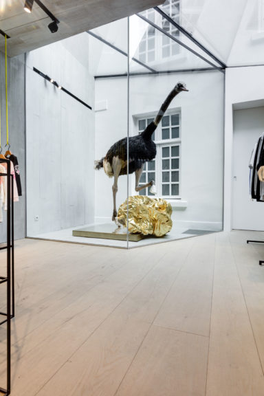 Extra lange planken vloer in kledingzaak